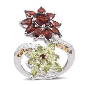 Jewelry - NEW Size 6 Garnet & Peridot 14K YG & Sterling Ring
